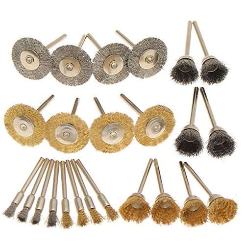 Letbo New 24pcs Wire Steel Brass Brushes Set Polishing Brush Wheels for Dremel Rotary Tool Lbg