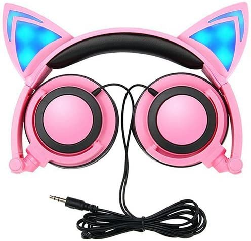 Amazon Com Cat Ear Headphones Snowwicase Flashing Glowing Cosplay Fancy Cat Headphones Foldable Over Ear Gaming Headsets Earphone With Led Flash Light For Iphone 7 6s Ipad Android Mobile Phone Macbook Pink Home Audio Theater