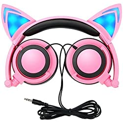 Cat Ear Headphones,SNOW WI Flashing Glowing Cosplay Fancy Cat Headphones Foldable Over-Ear Gaming Headsets Earphone with LED Flash light for iPhone 7/6S/iPad,Android Mobile Phone,Macbook (pink)