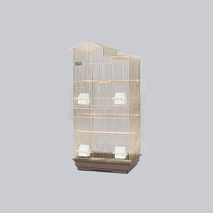 Casa de la mascota, jaulas de oro, parrot, metal, habitación, sala de estar, vitrina, jaulas para periquitos, monos, pelucas, jaulas (color A, tamaño: 47,5 x 36 x 100 cm).