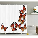 Butterflies Decoration Shower Curtain Set by Ambesonne, Monarch Butterfly Flying From Bottom Right Corner Insect Exotic Warm Weather, Bathroom Accessories, 69W X 70L Inches
