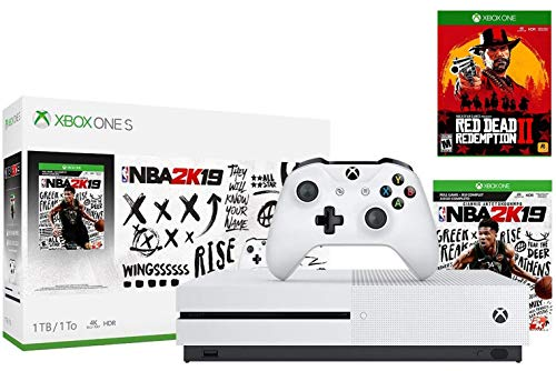 Xbox One S 1TB NBA 2K19 Red Dead Bonus Bundle: Red Dead Redemption 2, NBA 2K19 Game, Xbox One S 1TB Console, Xbox Wireless Controller, Choose Your Favorite Game