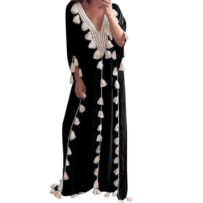 b8f952213c5 Mysky Fashion Women Sexy Deep V-Neck Bohemian Long Dress Ladies Summer  Ethnic Style Tassel