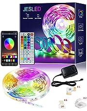 Taśma LED, JESLED 6 m Bluetooth RGB, aplikacja i pilot zdalnego sterowania, synchronizacja muzyki, SMD5050 RGB, zmiana kolorów, listwy świetlne do sypialni, kuchni, TV baru, na imprezę