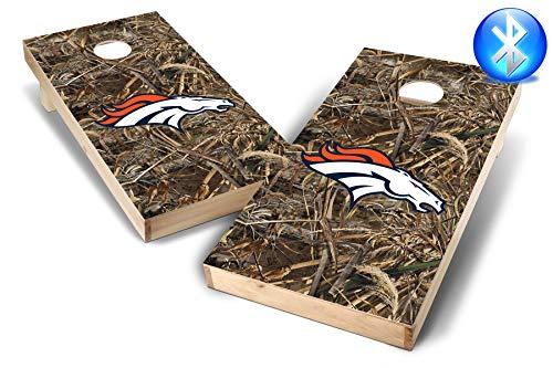 PROLINE NFL 2'x4' Denver Broncos Cornhole Set with Bluetooth Speakers - Realtree Max-5 Camo Design