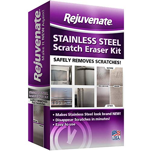 Rejuvenate Stainless Steel Scratch Eraser Kit Safely Removes Scratches Gouges Rust Discolored Areas Makes Stainless Steel Look Brand New - 6 Piece - Kit B-gone