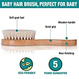 Wooden Baby Hair Brush with Natural Goat Hair Bristles | High Density Soft Bristles Perfect to Dentangle Infant Hair | Helps Prevent Cradle Cap | Best Baby Shower and Registry Gift