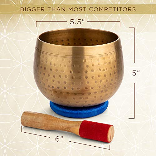 Meditative Brass Singing Bowl with Mallet and Cushion - Tibetan Sound Bowl for Energy Healing, Mindfulness, Grounding, Zen, Meditation - Exquisite, Unique Home Decor and Gift Sets by Telsha (Image #3)
