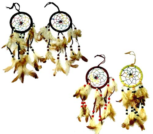 12 Bulk Lot Assorted Color Dream Catcher with RAINBOW Webbing/Dreamcatchers with Real Feather and Beads