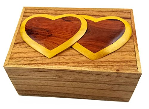 Oberstuff.com Two Hearts 6 x 4 x 3.25 Jewelry/Storage Box. All Natural Exotic Woods with Brass Hinged Lid. Hand-Made Wood Onlay Design on Lid.