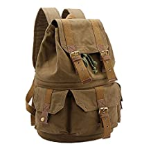 Canvas DSLR SLR Camera Shoulder Bags Backpack Rucksack Bag With Waterproof Cover And Inner Tank Bag For Sony Canon Nikon Olympus (Army green 2)