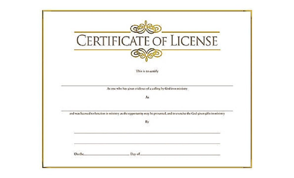 Certificate-License-Minister w/Gold Embossing (Pk/6)