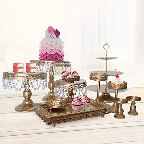 12PCS Gold Dessert Cupcake Display Stand, Classical Round Dessert Fruit Holder Pan Plates Tray w/Crystal Draped, Cookie Pedestal Display Tower, for Wedding Birthday Party Celebration Home - Crystal Draped