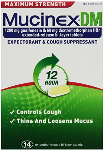 Mucinex DM Maximum Strength 12 Hour Expectorant and Cough Suppressant Bi-Layer Tablets, 14 Count