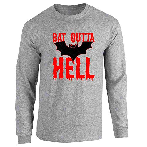 Pop Threads Bat Outta Hell Horror Halloween Sport Grey L Long Sleeve T-Shirt]()