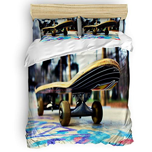 Pink Sky Queen Size 4 Pieces Kids Duvet Cover Set for Girls Boys,with 1 Flat Sheet + 1 Duvet Cover + 2 Pillowcases,Soft and Comfortable Bedding Set,Fashion Sports Yellow Skateboard Bed Sheet Sets (Skateboard Bed Sheets)