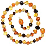 Baltic Genuine Amber Teething Necklace for Baby - Natural Analgesic - Safety Knotted - Nice Color for Boy - Dark Cherry (12.6 inches, mixed)