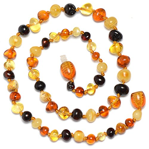 Baltic Genuine Amber Teething Necklace for Baby - Natural Analgesic - Safety Knotted - Nice Color for Boy - Dark Cherry (12.6 inches, mixed) (Baltic Cherry)
