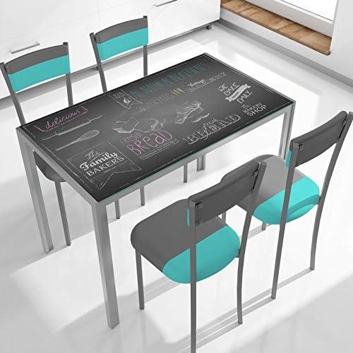 Mesa cocina cristal templado 105 cm x 60 cm x 75 cm: Amazon.es: Hogar