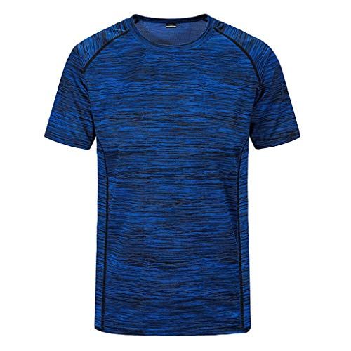 KINGOL Mens Summer Casual O-Neck Sport Fitness T-Shirt Quick-Drying Short Sleeve Breathable Top Blouse Dark Blue