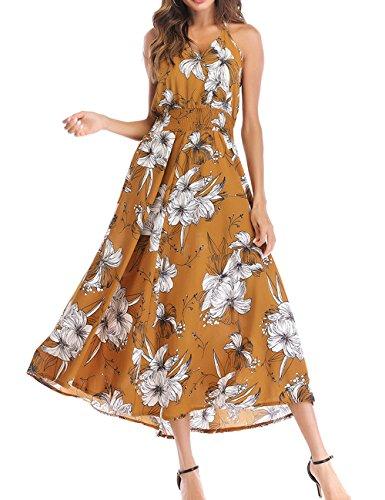 Sommer Lang Kleid Damen Freizeit Bohemia Blumen Kleid Strandkleider ...