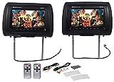 "Pair Rockville RHP91-BK 9"" Digital Panel Black Car Headrest Monitors w/ Speakers"