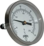 Winters TCT Series Dual Scale Mild Steel Clamp-On Thermometer, 2-1/2'' Dial, 30-240 F/C Range
