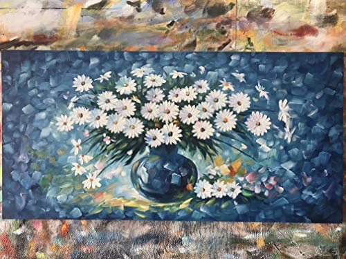 Diathou Blue Flower Oil Painting, 3D Hand-Painted Fabric Flower Art White Flower Wall Decoration, Texture Flower Painting Wall Art for Living Room, Bedroom, Bathroom, Office Decoration,24×48 inches