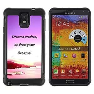 All-Round híbrido Heavy Duty de goma duro caso cubierta protectora Accesorio Generación-II BY RAYDREAMMM - Samsung Galaxy Note 3 - Dreams Ocean Purple Pink Sunset