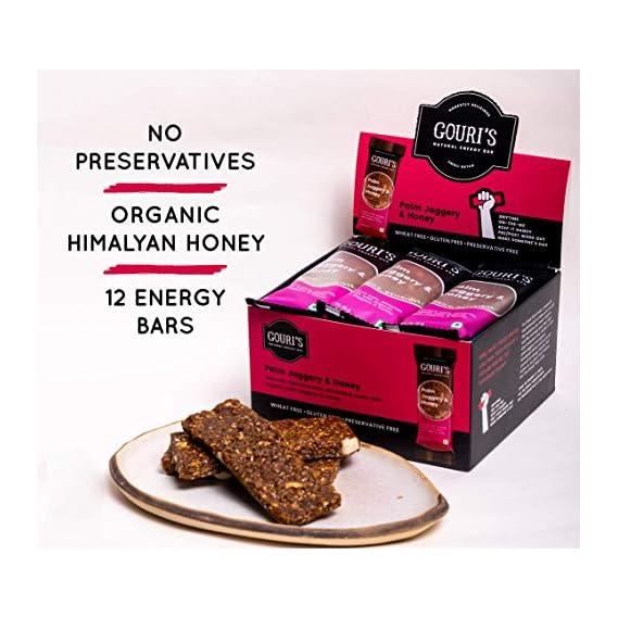 Gouri's Goodies - Gluten Free Energy Bar   Palm Jaggery and Honey   Granola Snack Nutrition Bars   High Fiber Snacks (Food)   420g   35 gm x 12 Bars   No Added Preservatives