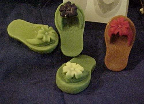 Flip Flop with Flower Tart 1 Cavity Silicone Mold 5130Food-Soap-Candle-Resin-Flexible