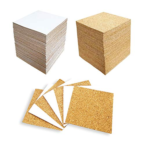 Hangnuo 100 Pack SelfAdhesive Cork Squares for Tile Coasters 4 X 4 Inches Cork Backing Sheets Mini Tiles Board for DIY Crafts