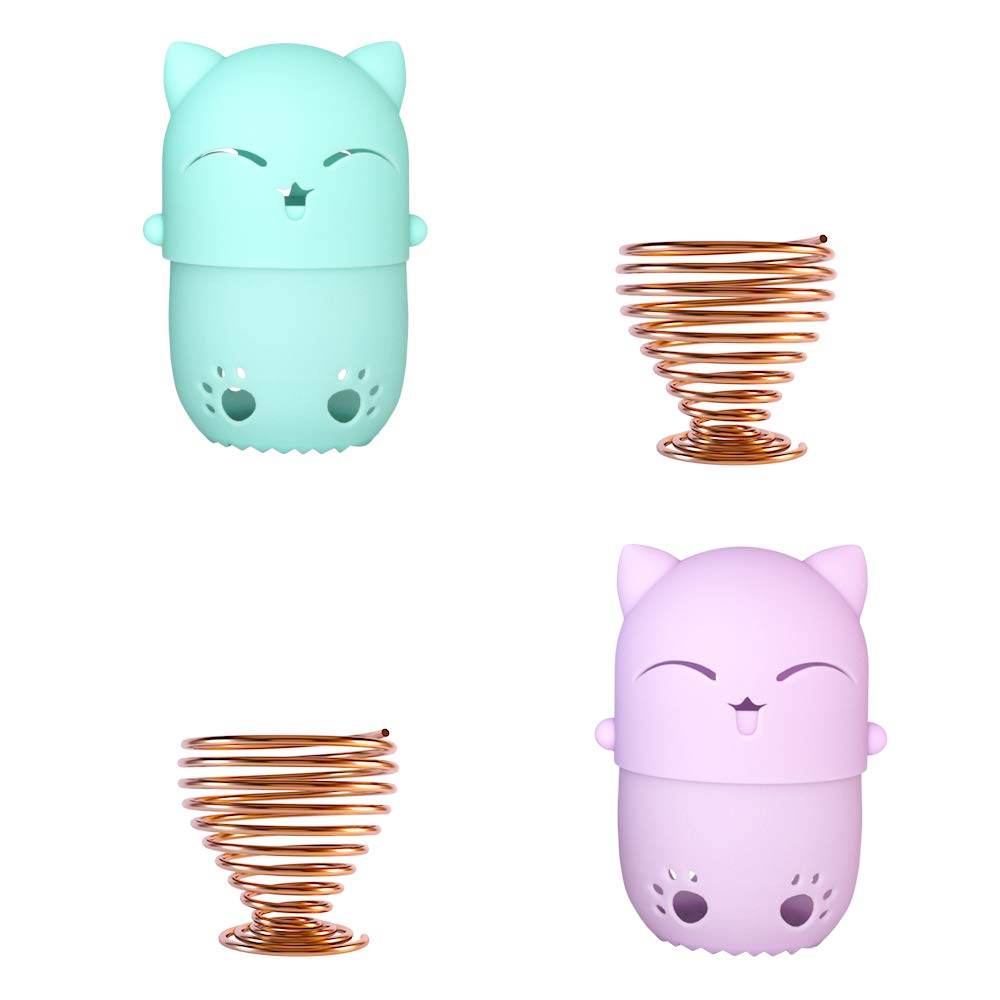 NaFurAhi Makeup Sponge Case, Cute Cat Shaped Containers, Silicon made Perfect for Traveling, Keep Makeup Sponges in a Safe &Sanitary, with 2 Fashion Hair Clips &2 Sponge Holders (Green+Purple)