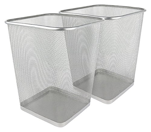 Greenco Mesh Wastebasket Trash Can, Square, 6 Gallon, Silver, 2 (Mesh Silver Wire)
