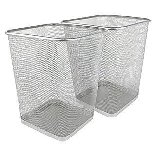 Greenco Mesh Wastebasket Trash Can, Square, 6 Gallon, Silver, 2 Pack