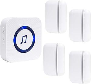 Wireless Door Open Chime Entry Alert Chime for Business Office Home Store with 4 Door Sensors 52 Ringtones 500 Feet