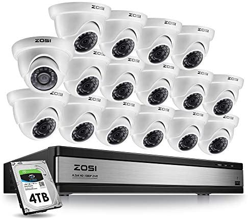 ZOSI 16 Channel Security Camera System 1080p,16 Channel DVR with Hard Drive 4TB and 16PCS Outdoor Indoor CCTV Dome Camera 1080p with Long Night Vision and 105 Wide Angle