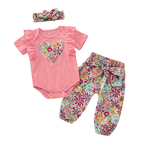 NZRVAWS Baby Outfits for Girls Summer Short Sleeve Girls Rompers with Pants and Headband Floral Heart Print Newborn Ruffle Jumpsuit Set 3-6 Months
