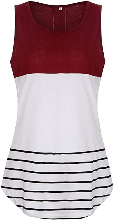 Womens Tops Womans Casual Round Neck Sleeveless Striped Summer Tank Tops