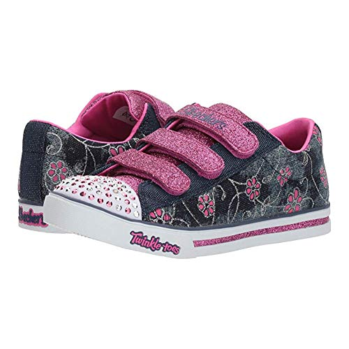 - Skechers Kids Womens Sparkle Glitz - Denim Daisy (Little Kid/Big Kid) Denim/Hot Pink 1.5 Little Kid M