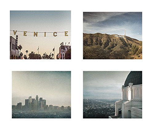 California Los Angeles Wall Art, Hollywood Studio Downtown Iconic Landmark Decor, Set of 4 8x10 Matted Prints 'Goodnight La La Land'