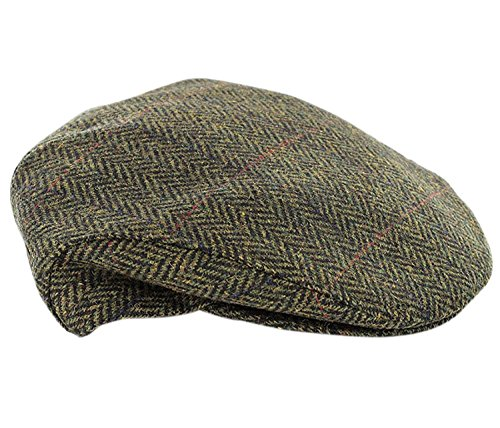 Mucros Weavers Trinity Tweed Flat Cap-Green Herringbone (XLarge)