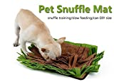 Petneces Pet Snuffle Mat Puzzle Feeder Toy - Dog Feeding Mats - Dog Smell Training Mat Nose Work Blanket, Encourages Natural Foraging Skills (green&brown)