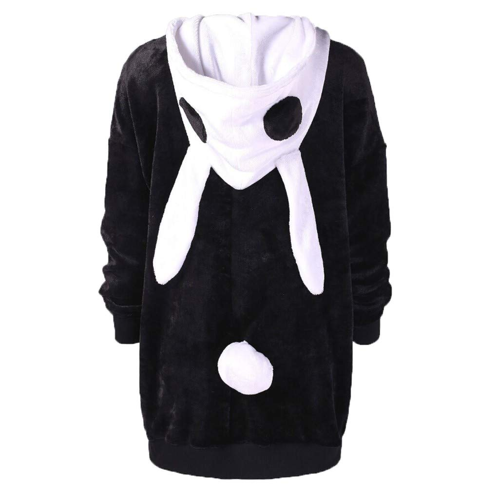 Women's Teens Cosplay Anime Rabbit Ear Hoodie Jacket Thick Sweater Animal Costume Coat (Black, M) by Jieou