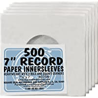 (500) Archival Quality Acid-Free Heavyweight Paper Inner Sleeves for 7 Vinyl Records #07IW