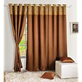 Yuga Home Décor Faux Silk Solid Blackout With Eyelets Long Door Curtain 48 x 108 Inches- Set Of 2 Pieces