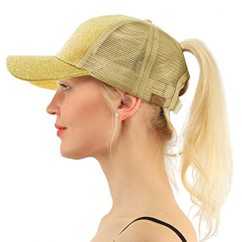 (C.C Ponytail Messy Buns Trucker Ponycaps Plain Baseball Visor Cap Dad Hat Glitter Gold)