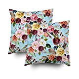 ROOLAYS Decorative Throw Square Pillow Case Cover 16X16Inch,Cotton Cushion Covers watercolor ethnic boho floral pattern Both Sides Printing Invisible Zipper Home Sofa Decor Sets 2 PCS Pillowcase