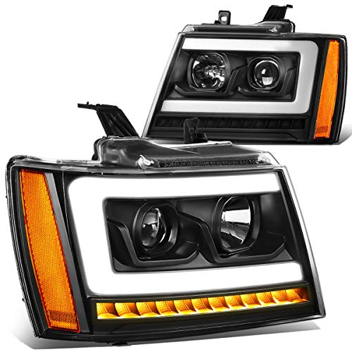 (Pair LED DRL+Sequential Turn Signal Projector Headlight Lamps for 07-14 Chevy Tahoe/Suburban/Avalanche Black/Amber)