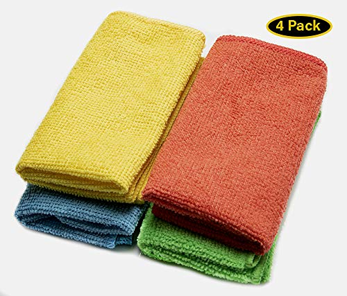 "Microfiber Cleaning Cloth - Pack of 4 Colors - Size 11.5"" x 11.5"" - Softer Highly Absorbent - Car Cleaning Kit - Kitchen - Window - 4Pk"